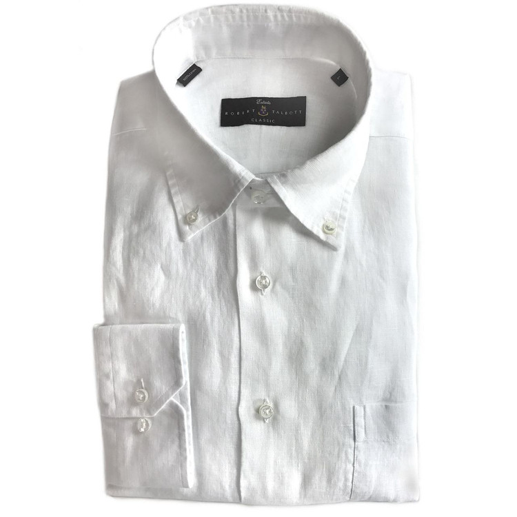 White Italian Linen Délavé Estate Sport Shirt by Robert Talbott