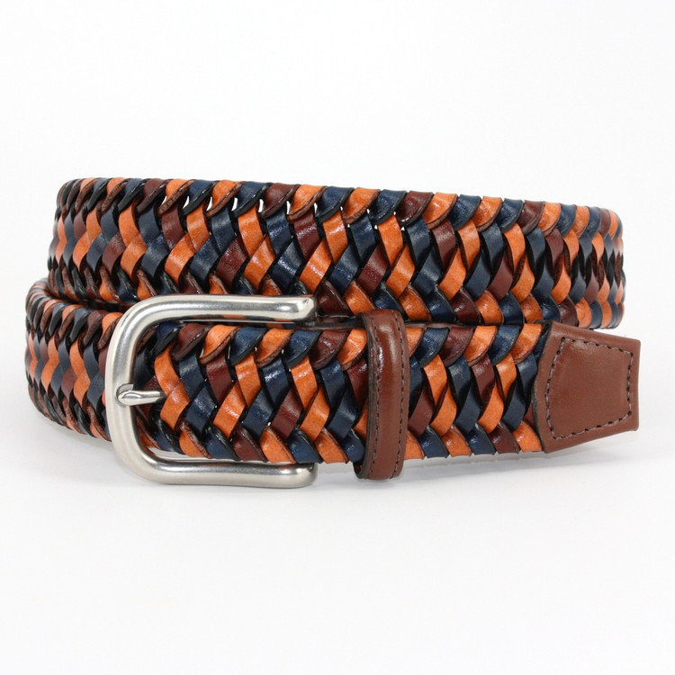 Italian Woven Stretch Leather Belt in Navy Multi by Torino Leather Co.