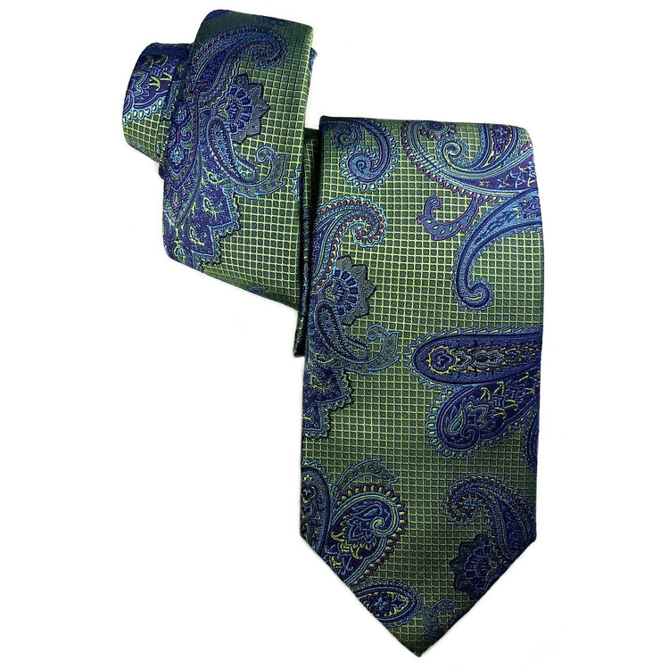 Best of Class Green and Blue Paisley 'Heritage' Woven Silk Tie by Robert Talbott