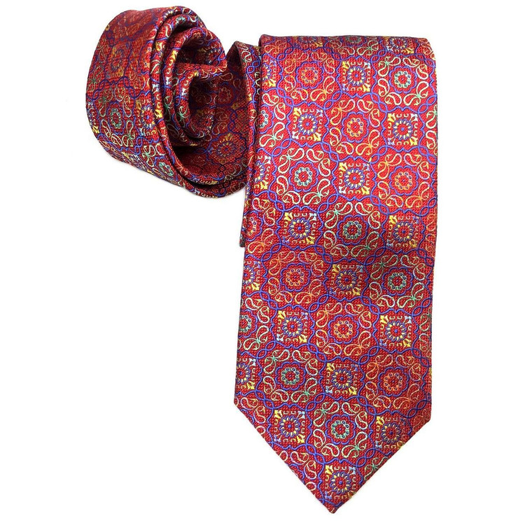 Best of Class Red, Blue, and Multi Medallion 'Welch Margetson' Woven Silk Tie by Robert Talbott