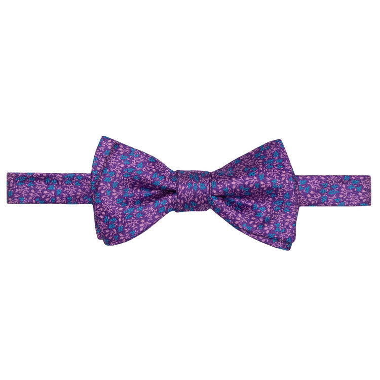 Best of Class Purple, Pink, and Blue Mini Botanical 'Carmel Print' Hand Sewn Overprinted Silk Bow Tie by Robert Talbott