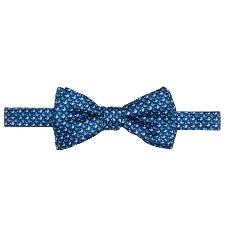 Best of Class Blue Crab 'Carmel Print' Hand Sewn Overprinted Silk Bow Tie by Robert Talbott