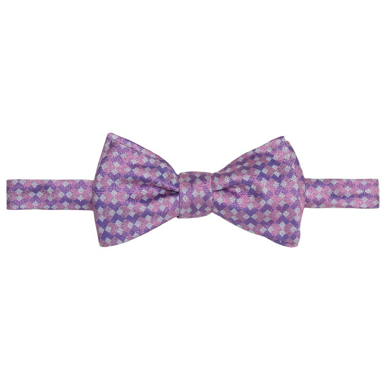 Best of Class Pink and Purple 'Geometric' Hand Sewn Woven Silk Bow Tie by Robert Talbott