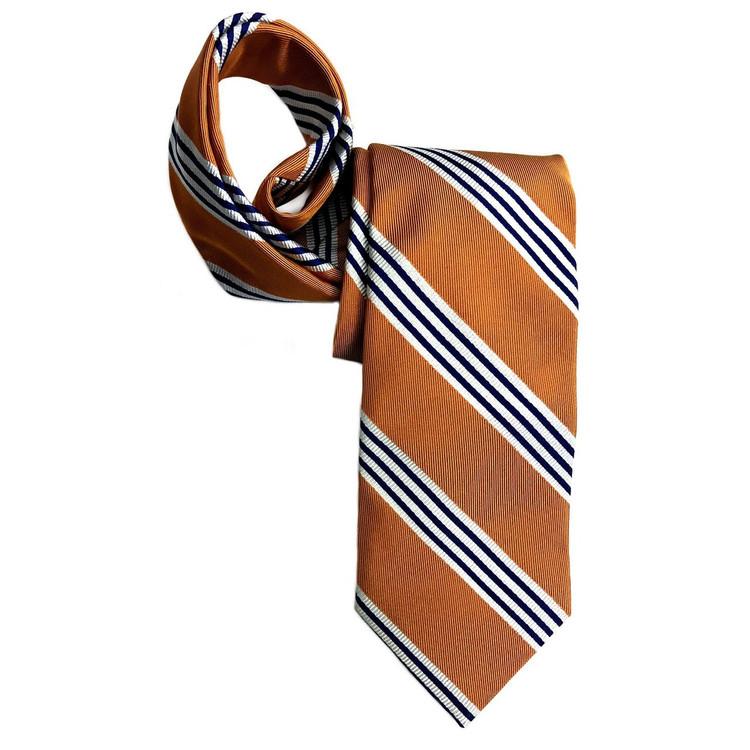 Best of Class Orange, Navy, and White Stripe 'Boardroom' Woven Silk Tie by Robert Talbott