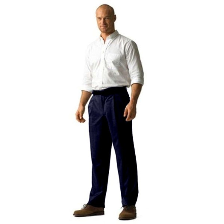 'Lanyard' Double Reverse Pleat Prime Poplin Trousers in Navy (Size 38) by Corbin