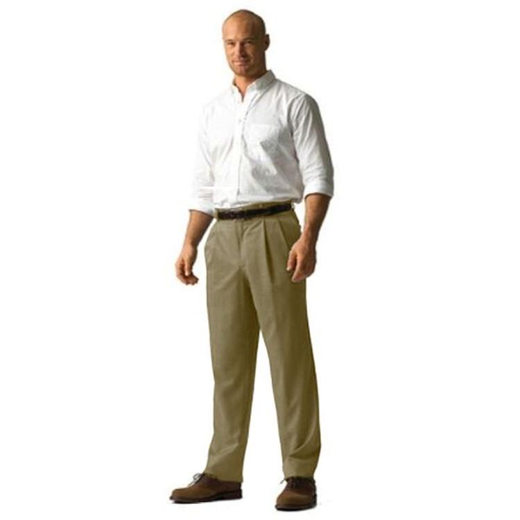 'Lanyard' Double Reverse Pleat Prime Poplin Trousers in Khaki (Size 34) by Corbin