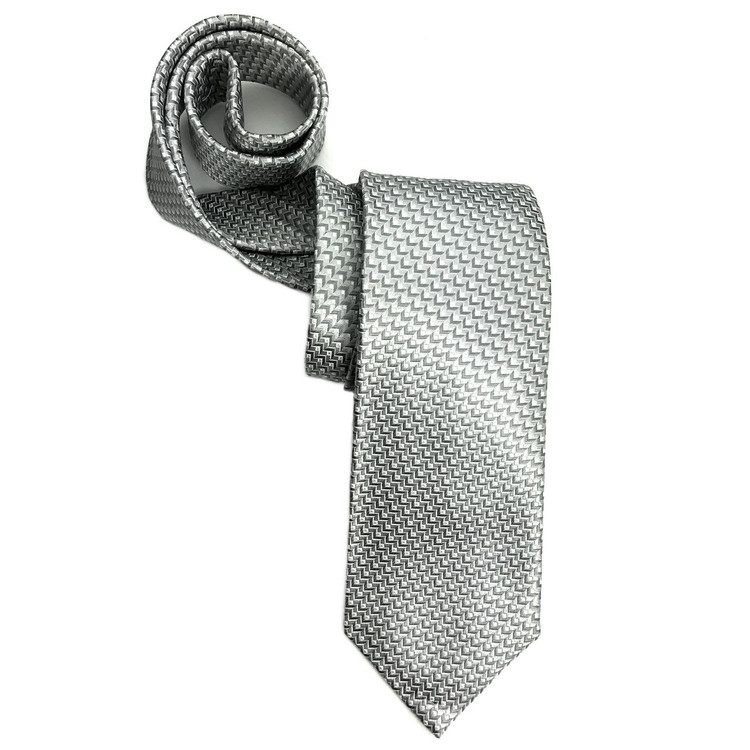 Grey and White Geometric Woven Silk Tie by Robert Jensen
