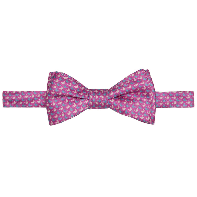 Best of Class Pink and Blue Crab 'Carmel Print' Hand Sewn Overprinted Silk Bow Tie by Robert Talbott