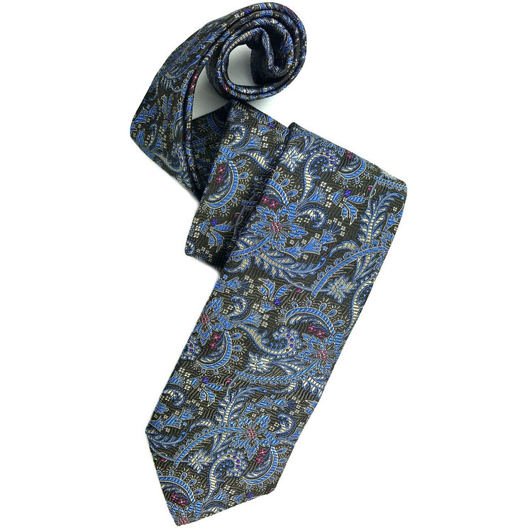 Brown, Black, and Blue Paisley Silk Estate Tie by Robert Talbott