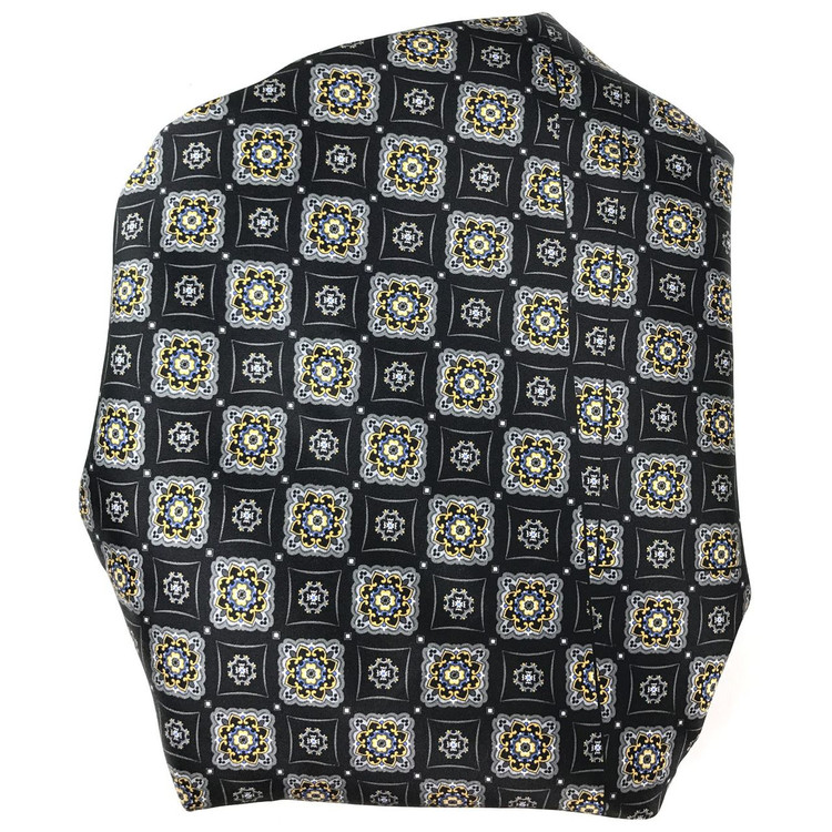 Custom Made Black, Grey, and Blue Medallion Silk Estate Tie by Robert Talbott