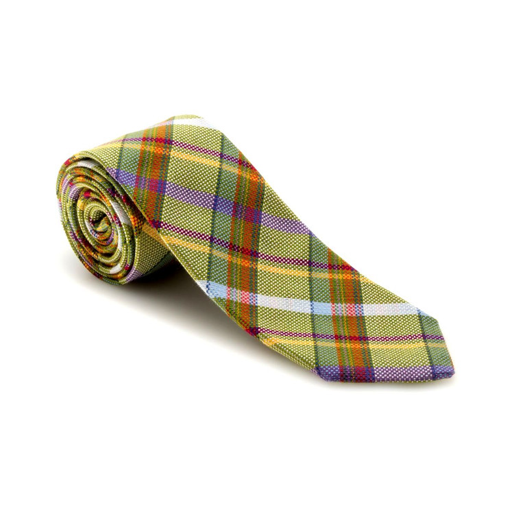 Best of Class Olive, Lemon, and Lavender Plaid 'Academy' Woven Cotton and Silk Tie by Robert Talbott
