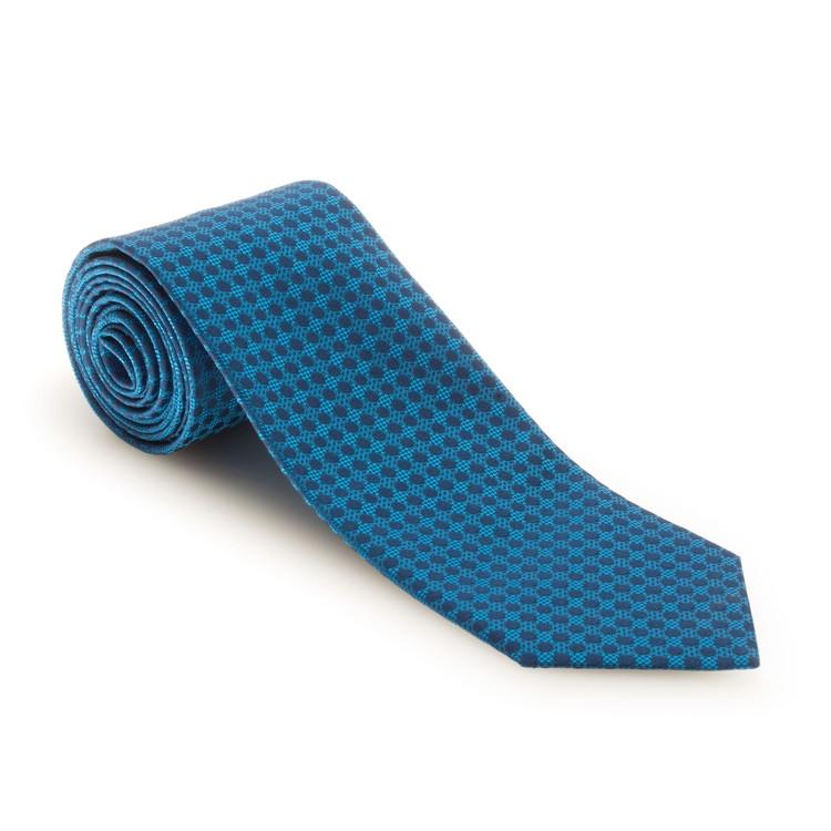 Best of Class Blue and Aqua Geometric Dot 'Venture' Woven Silk Tie by Robert Talbott