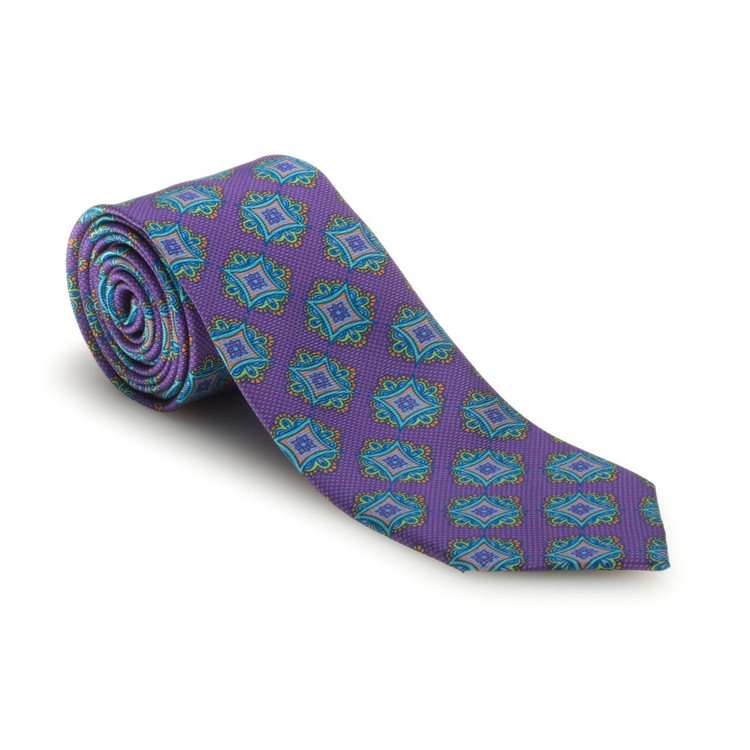 Best of Class Lilac and Aqua Medallion 'Carmel Print' Woven Silk Tie by Robert Talbott