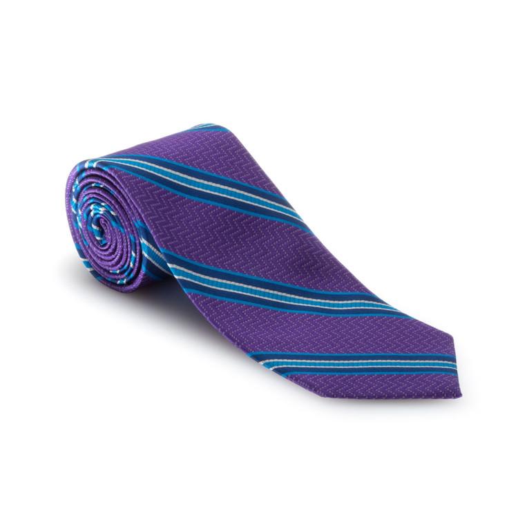 Best of Class Purple and Blue Stripe 'Heritage' Woven Silk Tie by Robert Talbott
