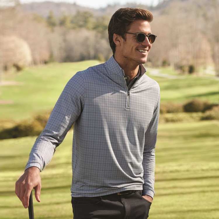 'Perth' Stretch Glen Plaid Loop Terry Quarter-Zip Performance Pullover in Smoke (Size Medium) by Peter Millar