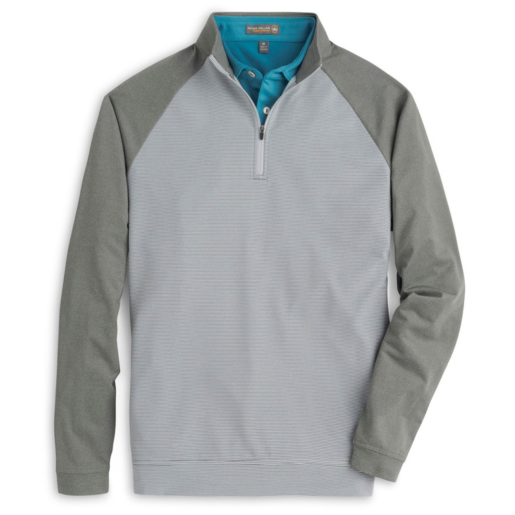 'Perth' Raglan-Sleeve Sugar Stripe Quarter-Zip Performance Pullover in Smoke (Size Medium) by Peter Millar