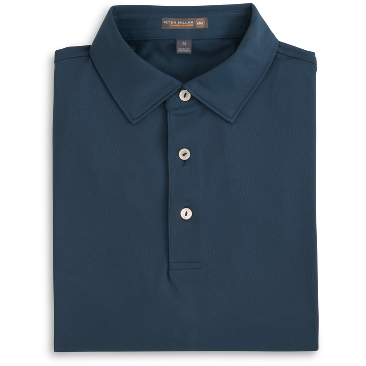Solid Stretch Mesh 'Crown Sport' Performance Polo with Sean Self Collar in Midnight (Size X-Large) by Peter Millar