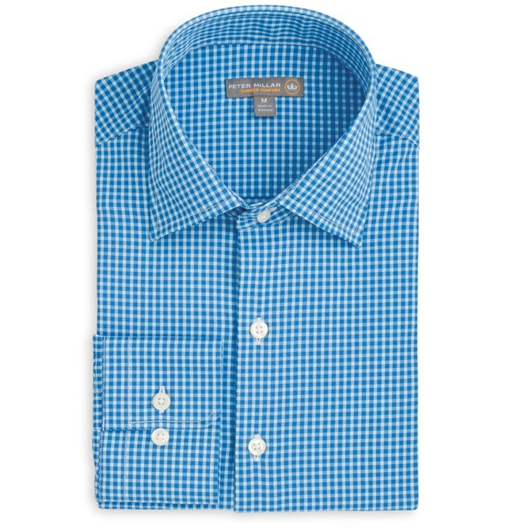 Statler Check 'Crown Sport' Performance Sport Shirt in Parisian Blue (Size X-Large) by Peter Millar