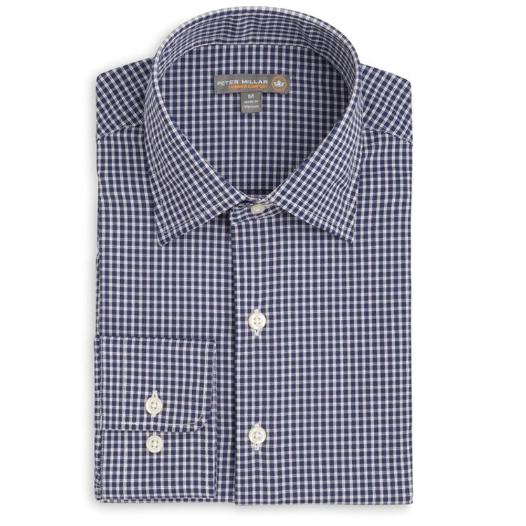 Statler Check 'Crown Sport' Performance Sport Shirt in Yankee Blue (Size Medium) by Peter Millar