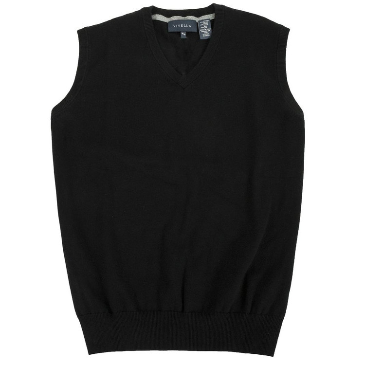 Cotton and Silk V-Neck Sleeveless Sweater Vest in Black by Viyella