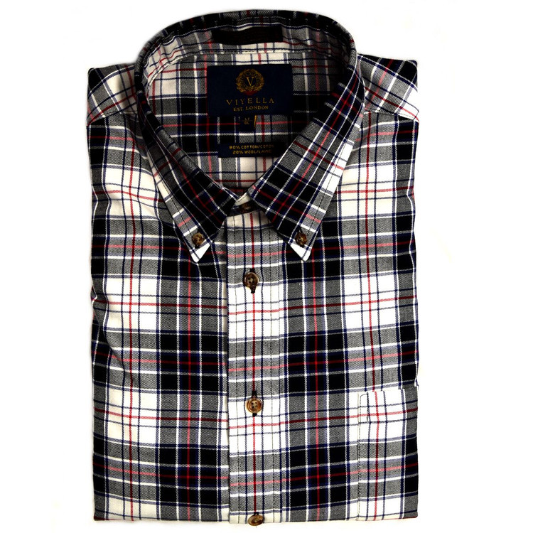 Black and Winter White Plaid Button-Down Shirt by Viyella