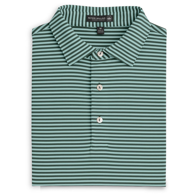 Competition Stripe Stretch Jersey 'Crown Sport' Performance Polo with Sean Self Collar in Pine (Size XX-Large) by Peter Millar