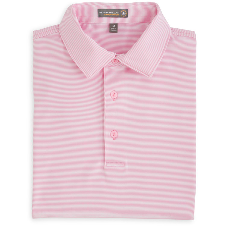 Jubilee Stripe Stretch Jersey 'Crown Sport' Performance Polo with Sean Self Collar in Bermuda Pink (Size X-Large) by Peter Millar