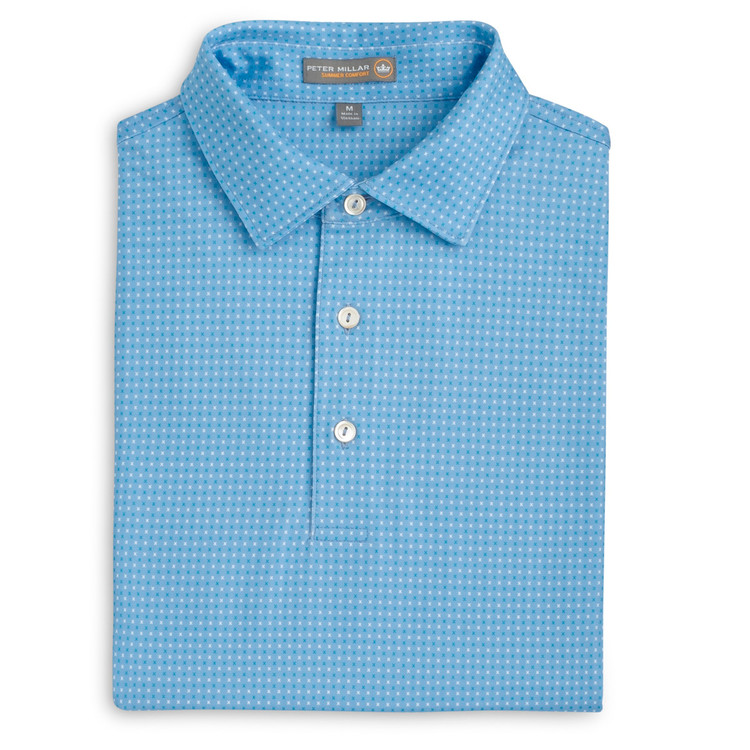 Duchess X Print Stretch Jersey 'Crown Sport' Performance Polo with Sean Self Collar in Cottage Blue (Size Medium) by Peter Millar