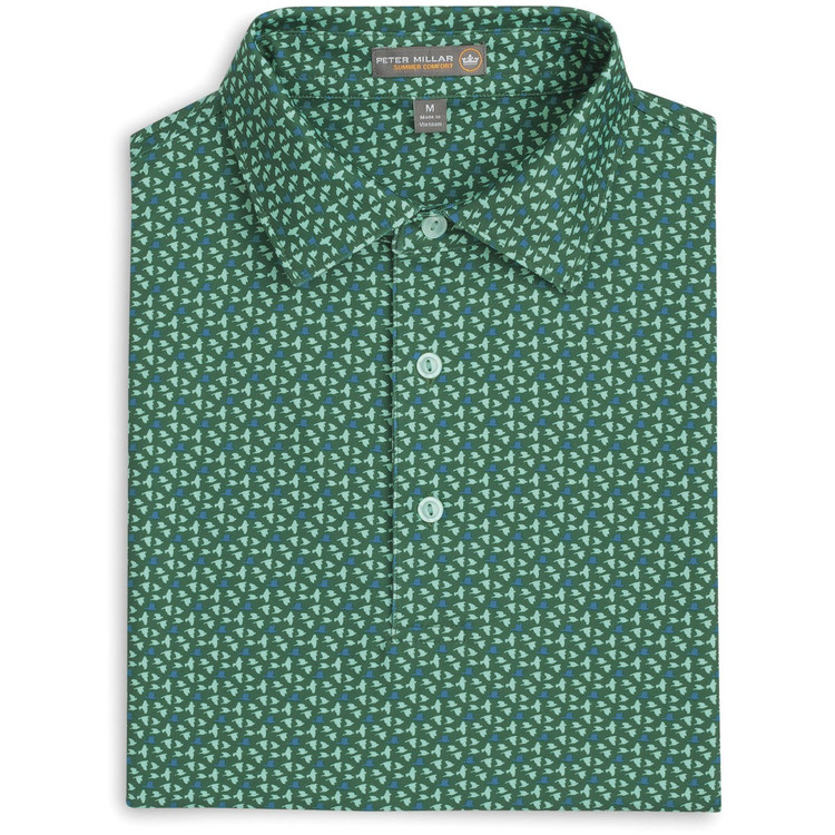 Darwin Birds Print Stretch Jersey 'Crown Sport' Performance Polo with Sean Self Collar in Pine (Size Medium) by Peter Millar