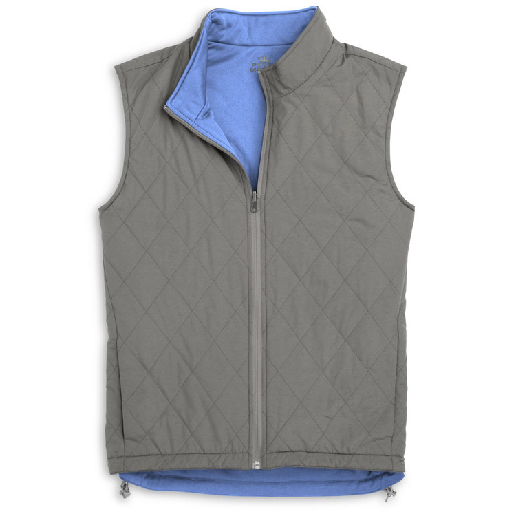 'Mitchell' Reversible Quilted Microfiber Vest in Smoke by Peter Millar