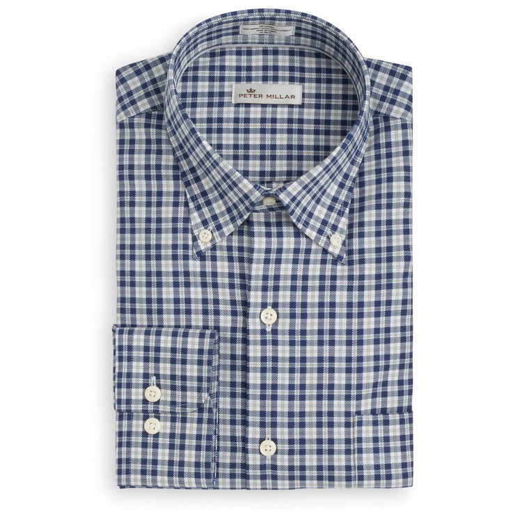 Worthington Tartan Cotton and Cashmere Sport Shirt in Arctic Night (Size Medium) by Peter Millar