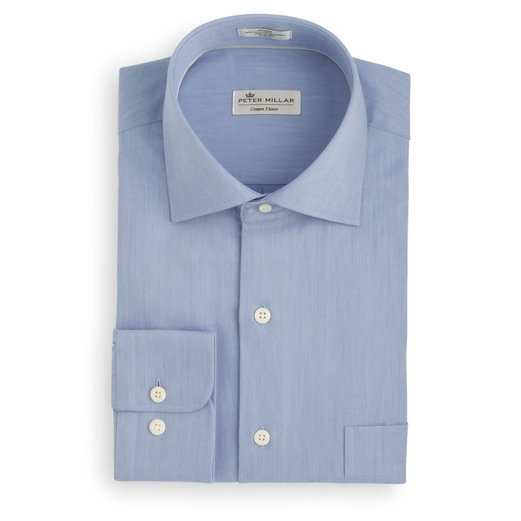 Crown Fleece Cotton and Cashmere Flannel Sport Shirt in Waters Edge by Peter Millar