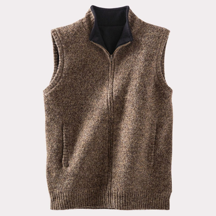 Shetland Fleece-Lined Reversible Territory Vest in Coffee Heather by Pendleton