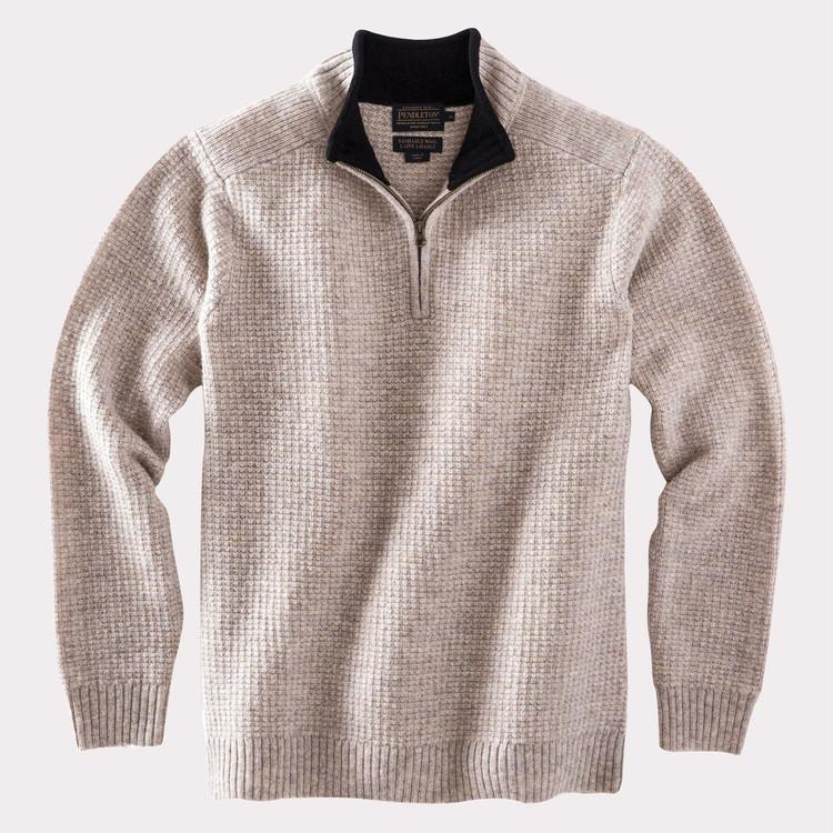 Shetland Half-Zip Sweater in Oat Heather by Pendleton