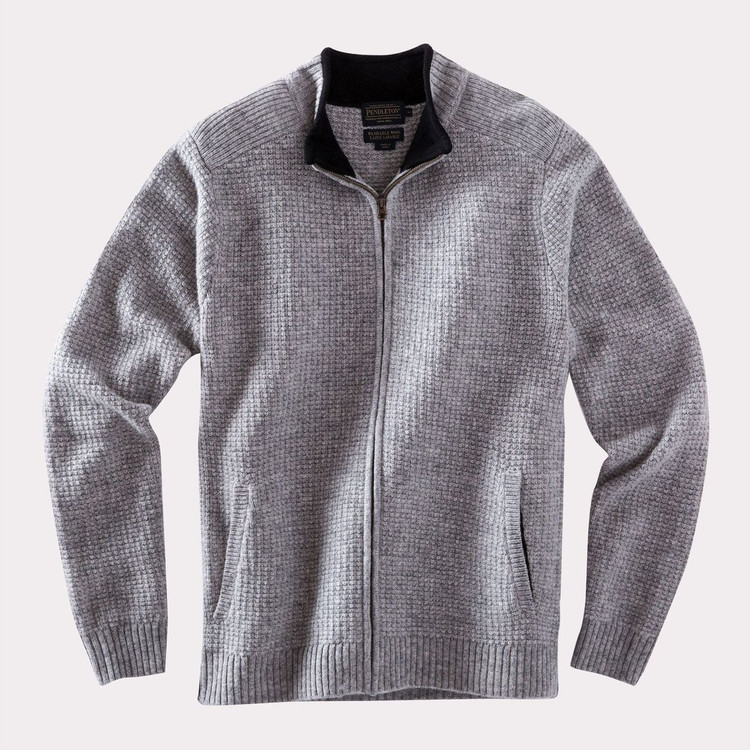 Shetland Full Zip Cardigan Sweater in Grey Heather by Pendleton