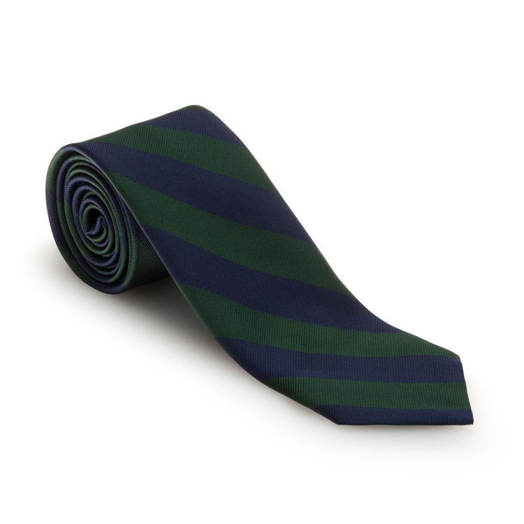 Fall 2017 Green and Navy Bar Stripe Woven Silk Tie by Robert Talbott