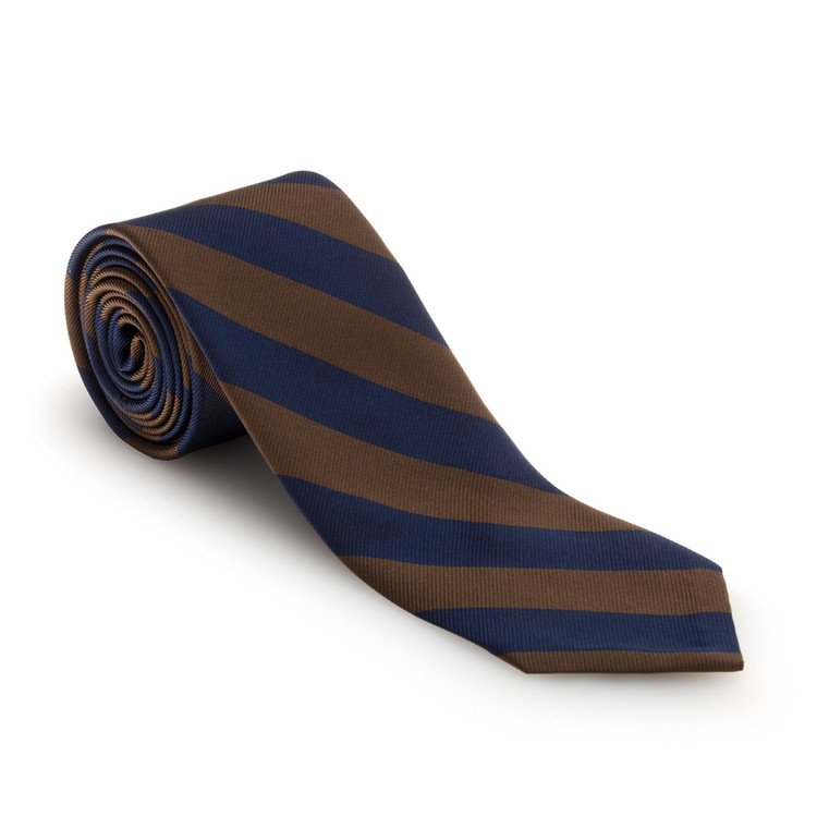 Fall 2017 Brown and Navy Bar Stripe Woven Silk Tie by Robert Talbott