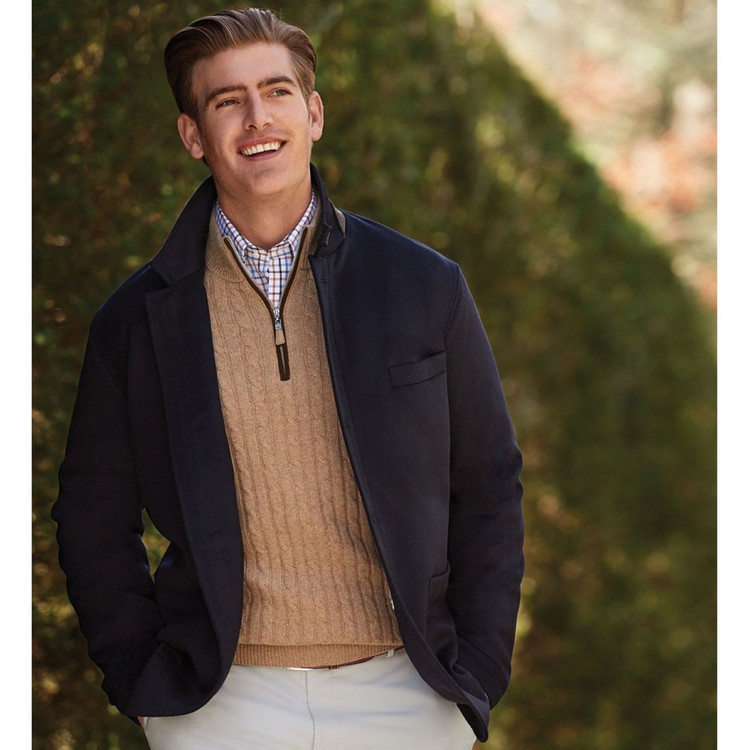 Crown Fleece Wade Wool and Cashmere Blazer in Navy (Size Large) by Peter Millar