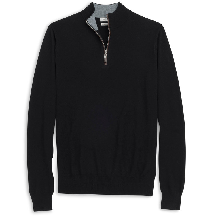 Napa Trimmed Merino and Silk Quarter-Zip Sweater in Black (Size Large) by Peter Millar