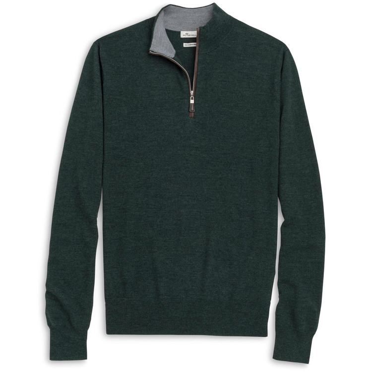 Napa Trimmed Merino and Silk Quarter-Zip Sweater in Spur Green (Size Large) by Peter Millar