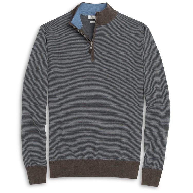 Striped Merino Wool Quarter-Zip Sweater in Dark Astro (Size X-Large) by Peter Millar