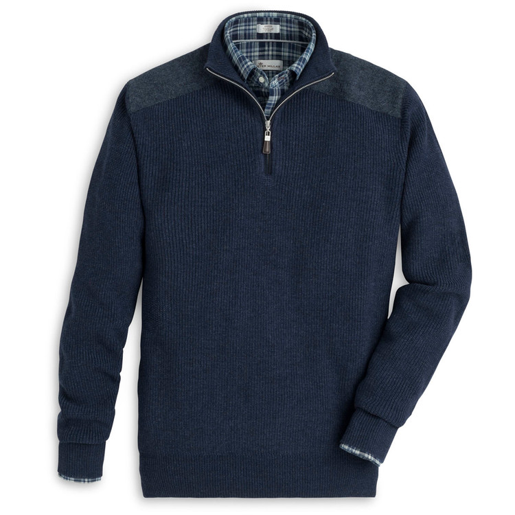 Mountainside Merino and Shetland Quarter-Zip Sweater in Atlantic Blue (Size X-Large) by Peter Millar