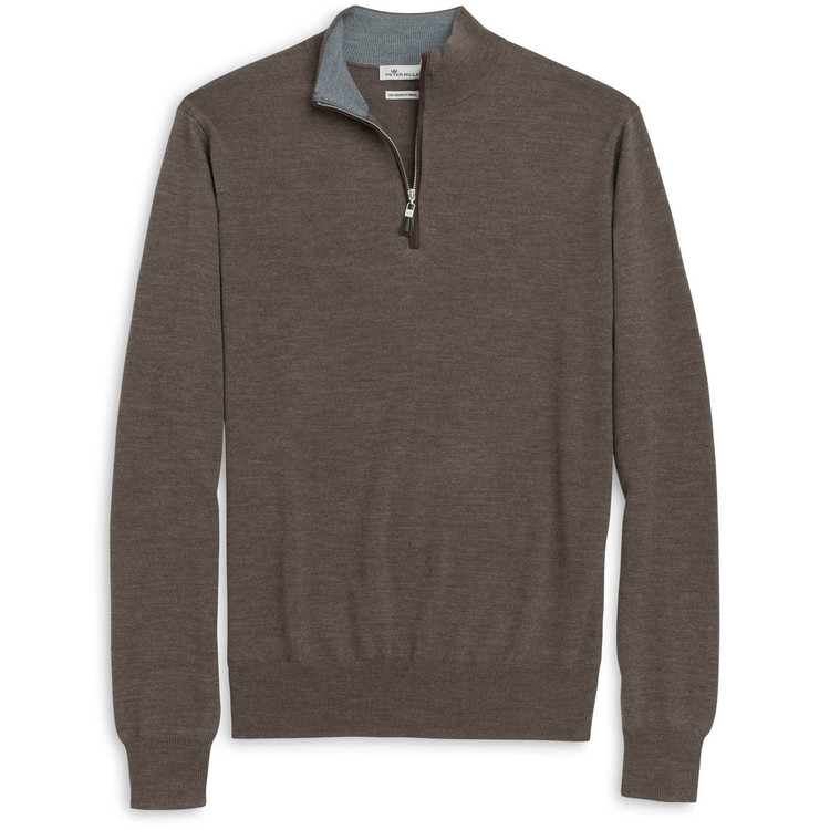 Napa Trimmed Merino and Silk Quarter-Zip Sweater in Mushroom Forest (Size X-Large) by Peter Millar