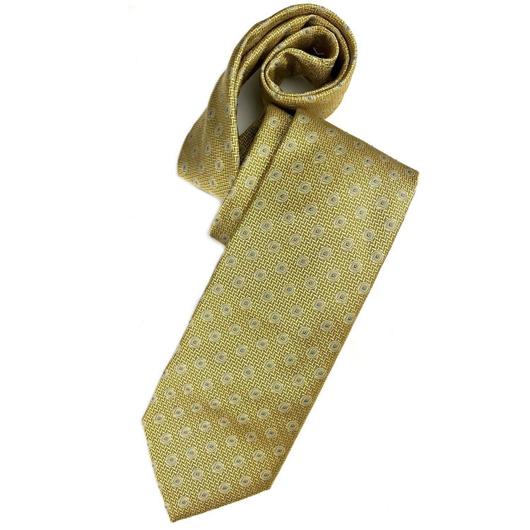 Fall 2017 Gold and Blue Herringbone Neat 'Ambassador' Silk Estate Tie by Robert Talbott