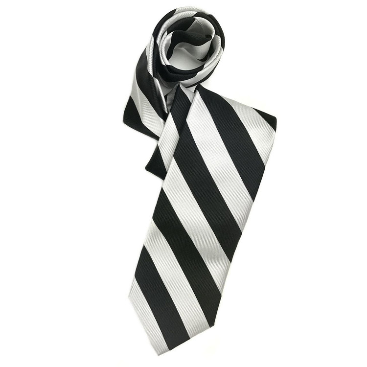 Fall 2017 Black and Silver Bar Stripe Woven Silk Tie by Robert Talbott