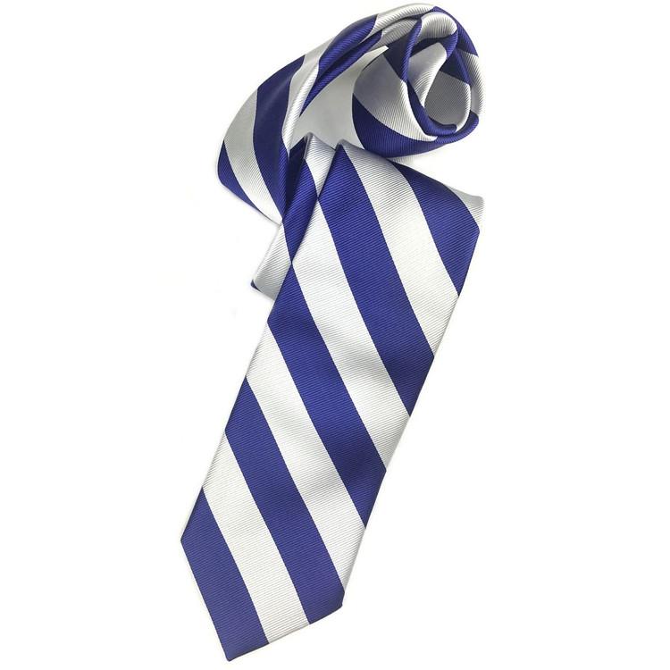 Fall 2017 Blue and Silver Bar Stripe Woven Silk Tie by Robert Talbott