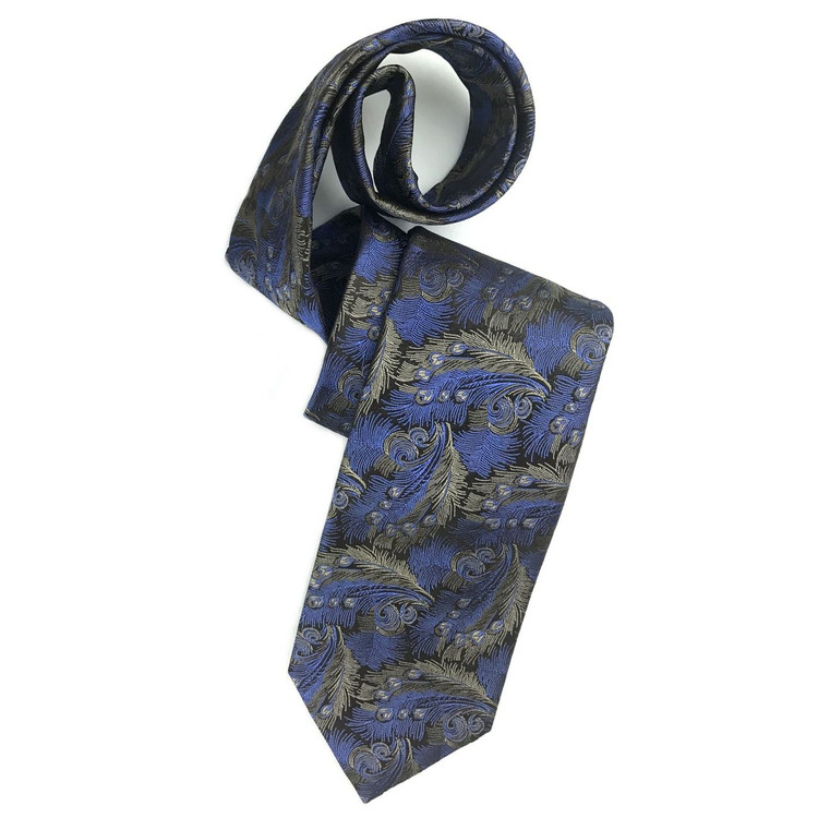 Best of Class Black, Blue, and Taupe 'Heritage' Woven Silk Tie by Robert Talbott