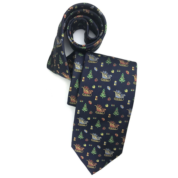 Fall 2017 Best of Class Navy Noel Sleigh 'Holiday Club' Woven Silk Tie by Robert Talbott