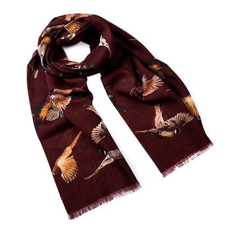 Cheshire Pheasants Wool and Silk Scarf in Chianti by Trumbull Rhodes