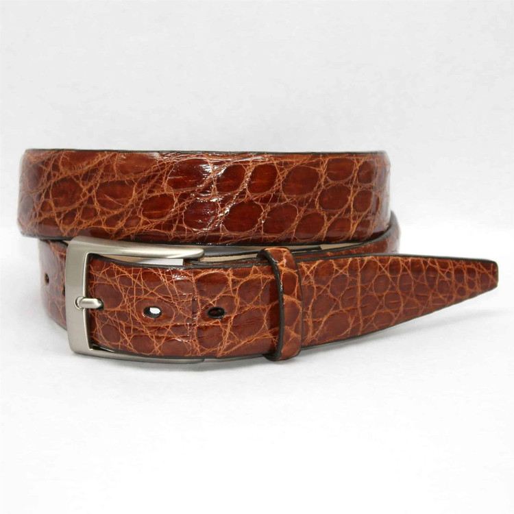 Glazed South American Caiman Belt in Cognac (Size 38) by Torino Leather Co.